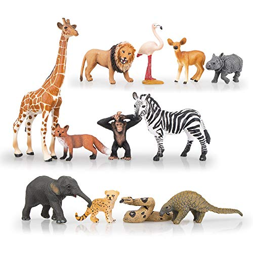 TOYMANY 12PCS Realistic Safari Animals & Zoo Animals Figurines, 2-6' Wild Life Animal Figures Set Includes Elephant,Lion,Giraffe,Chimpanzee, Cake Toppers Christmas Birthday Gift for Kids Todllers