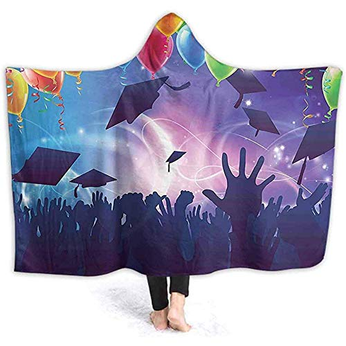 DJNGN 60X50 Inch Blankets Hooded Throw Blankets, Party Scene with Students Hands Up Throwing Mortar Board Caps Design Purple Wele Hooded B
