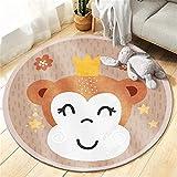 ROMDEANK Alfombra para Bebé de Juego Redonda Mono Amarillo Infantil Manta de Juego Antideslizante Lavable, para Dormitorio,salón,para habitación Infantil 160CM