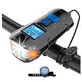 USB Recargable Luz de la bicicleta, Faro de bicicleta LED a prueba de agua con velocímetro y bocina, Luces traseras, Luz delantera y trasera de bicicleta para seguridad nocturna