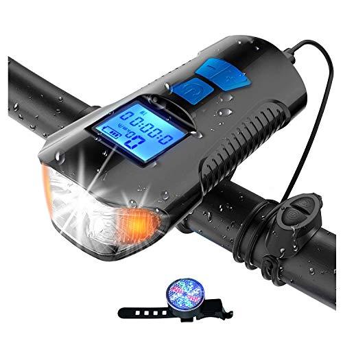 MMCAT LED Fahrradlicht Set Zugelassen USB Aufladbar IPX6 wasserdichte Fahrradlicht Rennrad MTB Fahrradlampe mit Fahrradcomputer Tachometer Fahrradhupe, Frontlicht und Rücklicht Rotlicht Licht