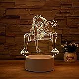 Luz Nocturna ,Lámpara De Ilusión Óptica Led 3D Con Placas Acrílicas De Patrones,Lámpara De Visualización Creativa Usb Regalo Para Niños,Luffy 2
