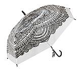 Paraguas Transparente Étnico automático 100 cm de diámetro una vez abierto 8 Varillas con protecciones en PVC Negro Plástico de alta resistencia Motivo hindú indio henna ceremonial