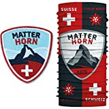 Club of Heroes Matterhorn Set / 1 Patch + 1 Multifunktionstuch/Aufnäher Aufbügler Bügelflicken Patches/Bandana Schlauchtuch Halstuch Schal Mundschutz/Alpen Berge Bergsteigen Schweiz Wallis