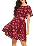 Romwe Women's Stretchy A Line Swing Flared Skater Cocktail Party Dress Polka Dot Red XS