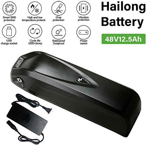 YiiYYaa 48V 12.5Ah HaiLong Ebike Battery Downtube Lithium Battery with USB Port, Electric Bike Battery for 500/750/1000W Motor