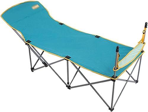 OAVVC Lit Pliant Portatif Extérieur Simple Camping Loisirs Voyage Pause-déjeuner Lit pour Enfant Adulte, Portant 120KG, 177  60  79cm, Léger, Robuste Confortable, Fonction Réglable à Pied