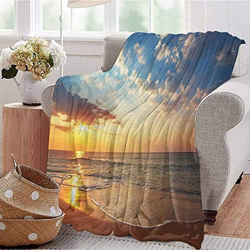 Luoiaax Ocean Rugged or Durable Camping Blanket Cloudscape Over The Sea Honeymoon Travel Destination Sunrise Panoramic Shot Warm and Washable W70 x L84 Inch Blue Yellow Brown
