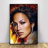 Aishangjia Arte de Pared Jennifer Lopez Pinturas modulares Elegantes imágenes de Belleza Impresiones Cantante Pop Decoración para el hogar Póster Lienzo para Marco de Dormitorio 50x70 cm B-1041