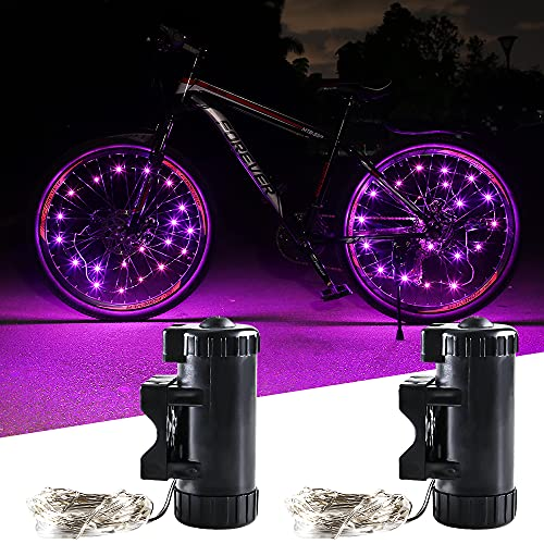 KaiDengZhe Luces de Rueda de Bicicleta Recargables USB Super Brillante Luz LED de Bicicleta Luz de Radios de Bicicleta para Máxima Seguridad y Estilo (Paquete de 2, Rosa)