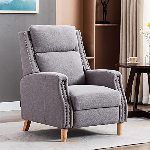Artechworks Modern Recliner Armchair Linen Push Back Reclining Sofa Chairs,Adjustable Accent Lounge Chair with Expandable Footrest,Wooden Legs for Adults,Reading,Living Room,Bedroom,Office,Grey