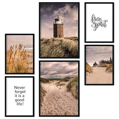 bilderreich Premium Poster Set Deko Bilder Wohnzimmer Modern Dünen & Leuchtturm | Schlafzimmer Bild für die Wand | ohne Rahmen | 2 x DIN A3 + 4 x DIN A4 - ca. 30x42 & 21x30 | Dünen
