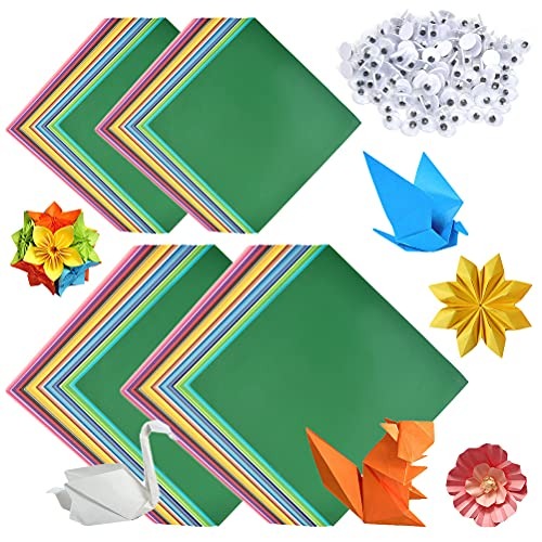 Papel de origami, 200 hojas, 50 colores vivos, papel cuadrado de origami de una sola cara (15 x 15 cm, 10 x 10 cm) + 100 piezas de ojos suaves (5 mm), ideal para proyectos de arte y manualidades