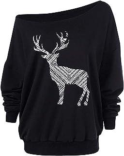女性のクリスマストップス、三番目の店 ファッション 女 メリークリスマス ワピティ エルク プリント トップス オフショルダー Oネック 大きなネックライン ロングスリーブ スウェット プルオーバーブラウス プルオーバーセーター