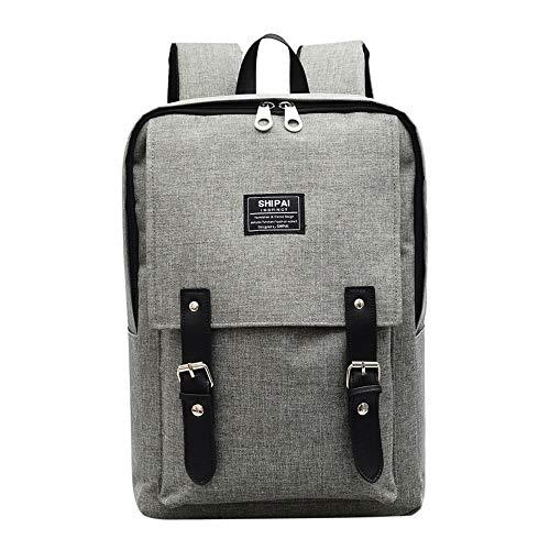 Studentenrucksack - Wasserdichter, atmungsaktiver Outdoor-Reiserucksack mit USB-Ladeschnittstelle, Nylon-Stoff mit großer Kapazität, Freizeitmode für Männer und Frauen, Schultasche (Color : Gray)