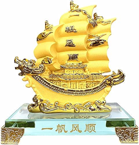 Feng Shui Gold Dragon Sailing Ship ( Boat) Statue Home...