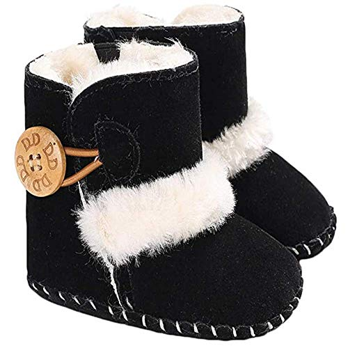 N/N Toddler Boots,Baby Girls Boys Booties Non-Slip Warm Snow Boots Infant Winter Shoes Newborn Toddler Prewalker Shoes (0-6 Months Infant, Black)