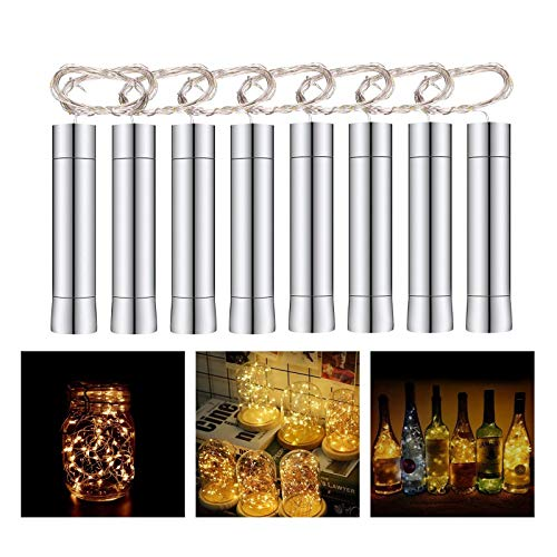 Herefun 8 x 20 LED Flaschenlicht Lichterkette 2M, LED Flaschen Licht LED Nacht Licht Weinflasche für Hochzeit Party Romantische Deko Tischdekoration - Warm-weiß