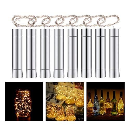 Herefun Cadena Led Luces para Botellas de Vino, 8 x 20 Leds Guirnaldas Luminosas 2M Lámparas de Botellas Blanco Cálido, Tira de luz Tapa de Botella para Decoraciones de DIY Festivales Luces