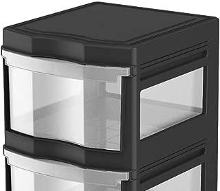 Life Story Classic 3 Shelf Standing Plastic Storage Organizer and Drawers, Black photo