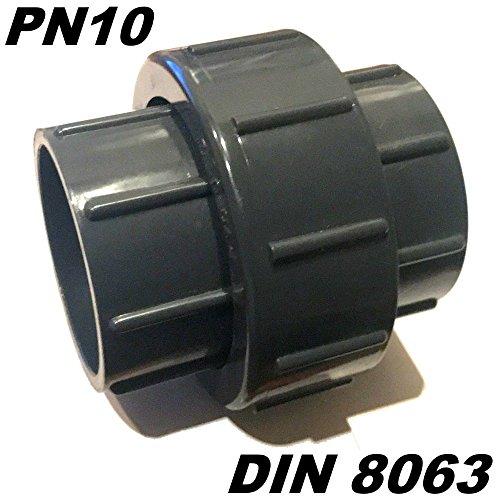 PVC-U Fitting Adapter Verschraubung Durchmesser 40mm mit 2 X Klebemuffe ideal für Rohrleitungsbau am Koiteich
