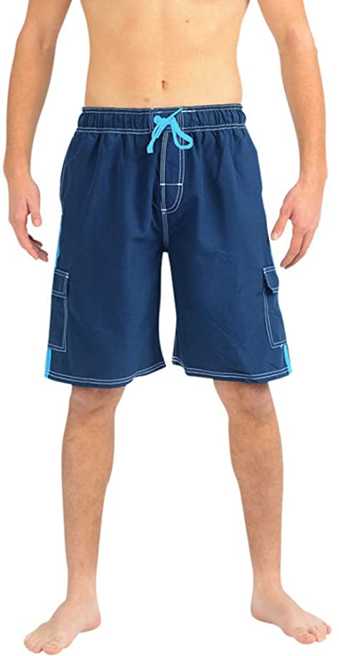 NORTY Mens Swim Trunks - Watershort Swimsuit - Cargo Pockets - Drawstring Waist