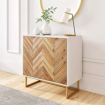 Nathan James Enloe Modern Storage, Free Standing Accent Cabinet with Doors in a Rustic Fir Wood Finish Powder-coated Metal Base for Hallway, Entryway or Living Room, White/Gold by Nathan James