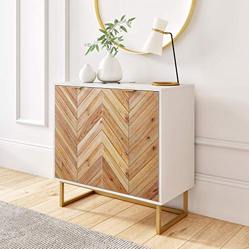 Nathan James Enloe Modern Storage, Free Standing Accent Cabinet with Doors in a Rustic Fir Wood Finish Powder-coated Metal Base for Hallway, Entryway or Living Room, White/Gold