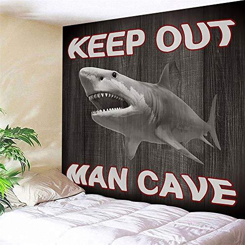 JAWO Rustikaler Wandteppich Man Cave Decor Shark Ocean Tier auf rustikalen Holzpaneelen Tapisserie Wandbehang Home Decor für Wohnzimmer Schlafzimmer Wand Decke 80X60 grau
