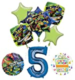 Mayflower Products Teenage Mutant Ninja Turtles 5th Birthday Party Supplies and TMNT Balloon Bouquet Decorations