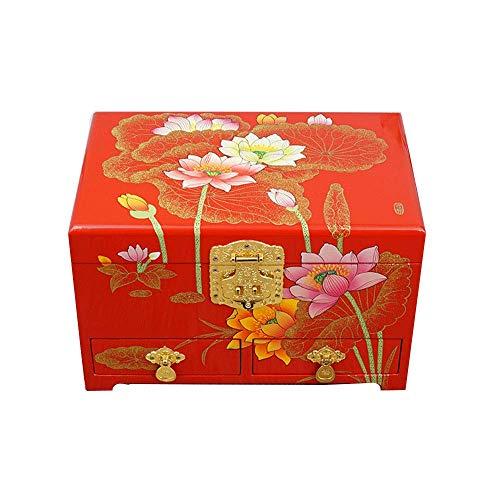 ALIANG Caja de Almacenamiento de Madera, China, tocador, joyero de Laca, Lotus