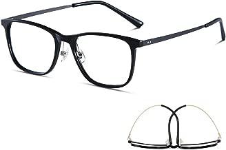 M'S Blue Light Blocking Glasses,Lightweight Titanium Sheet Frame Clear Lens Anti Glare Eyestrain Computer Game Reading Eyeglasses for Men/Women(132MM, Black)