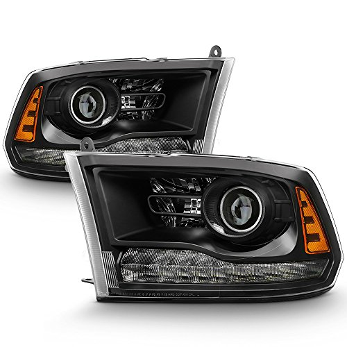 ACANII - For [Projector Style Only] 2013-2018 Dodge Ram 1500 2500 3500 Black LED DRL Headlights Headlamps Set Left+Right