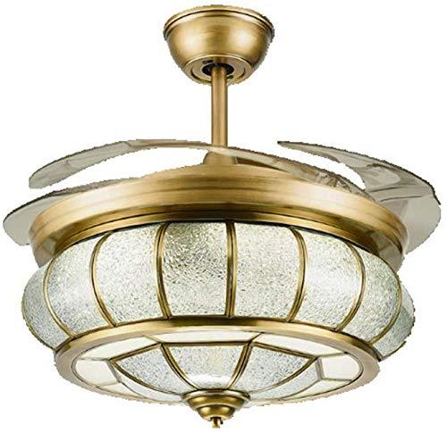 LED plafondventilatoren met lamp, volledig koper ontwerp ventilator hanglamp, onzichtbare ventilator plafondlampen, wandmontage schakelaar, brons