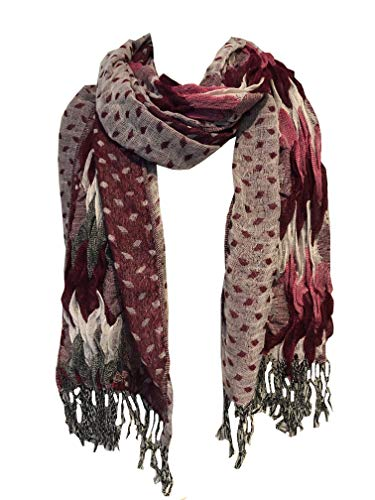 Pamper Yourself Now Pink, weiß und grau klobige Diamant-Design dehnbar Schal (Pink, white and grey chunky diamond design stretchy scarf)