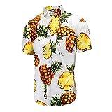 YOUQU Camisa Hawaiana Hombre,Funky,Night Club Party Manga Corta Unisex,Casual Graphic Beach Surf Aloha Tops,Impresión De Piña,Piña Blanca,XL