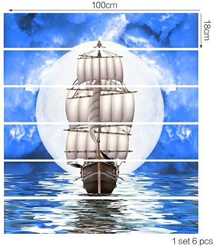 ZXL Sticker voor trappen, 6 stks/set Zeilen Naar Zee Tegel Patroon Sticker Sticker Decal KIndian Liefde Verwijderbare Trap Waterdichte Vinyl Sticker Voor Home Decor 18 * 100cm