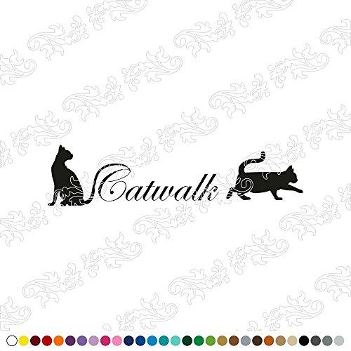 Dalinda® WANDTATTOO Catwalk Katzen WANDAUFKLEBER WANDSTICKER WALLPRINT (Größe 93 x 23 cm) NR071