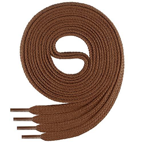 Di Ficchiano Flache SCHNÜRSENKEL aus 100% Baumwolle für Sneaker und Sportschuhe - sehr reißfest - ca. 7 mm breit-lightbrown-60