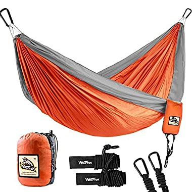 Wolfyok Double Camping Hammock Lightweight Portable Nylon Hammock with Parachute Nylon Ropes and Solid Carabiners for Backpacking, Camping, Travel, Beach, Yard, 126 (L) x 78 (W) Support Up to 660lbs