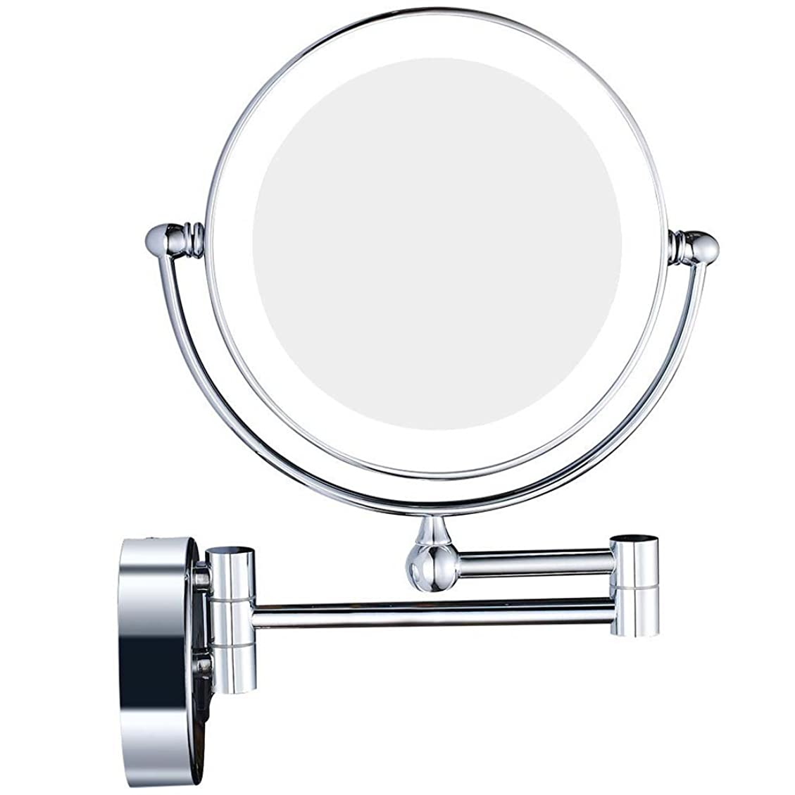 誰も君主制メロドラマティックLED化粧鏡、8インチウォールマウント折りたたみバニティミラー3倍LED照明と両面ミラー付き