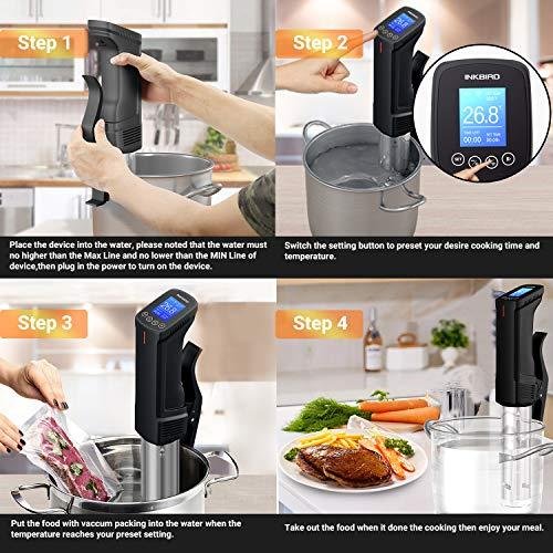 Inkbird Sous Vide 1000W, Wi-Fi Slow Cooker Circolatore di Immersione, Temperatura e Timer Controllo Remoto, Roner Professionale per Cottura a Bassa Temperatura Sottovuoto