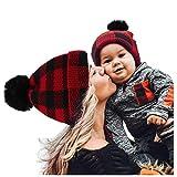 puseky Familia Padre-Hijo Sombreros a Juego Gorro de Punto de Invierno Gorro de Navidad para Madre E Hijos Gorro de Gorro de Pompón a Cuadros Rojos