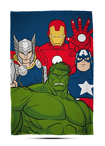 Disney Marvel Avengers Marvel Avengers 'Mission' Coperta in Pile–Grande Stampa Design, Multicolore