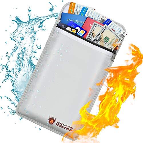 Feuerfeste Dokumententasche, nicht juckend, silikonbeschichtet, feuerfest, mit Reißverschluss, wasserabweisend, sichere Aufbewahrung für Geld, Dokumente, Schmuck und Reisepass (S)