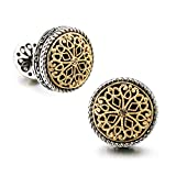 18K Gold Plated Vintage Celtic Cross Filigree Cufflinks for Men Tuxedo Shirt - Best Fathers Day Gifts for Men Wedding Business with Luxury Wooden Gift Box