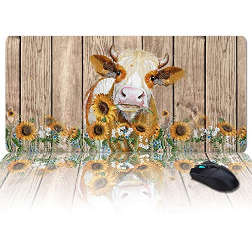 Large Gaming Mouse Pad Full Desk Pad-American Farm Cow with Sunflower On Vintage Wooden Planks,Non-Slip Rubber Base Ergonomic XXL Keyboard Mat for Laptop/Computer/Desk Accessories
