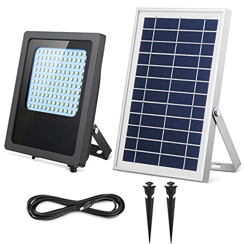 Solar Flood Lights Outdoor, SunBonar 120LED Weatherproof Auto ON/Off Solar Powered Security Lights Outdoor/Indoor Solar Shed Lights for House Porch Pool Patio Sign Barn Garage Driveway (Cool White)
