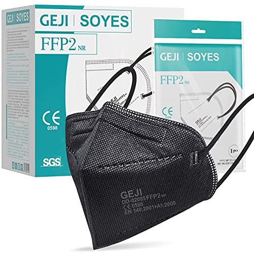 FFP2 Maske CE Zertifiziert schwarz - 20 Stück Masken - hygienische Einzelnverpackung - 5-lagige Premium Maske CE 0598