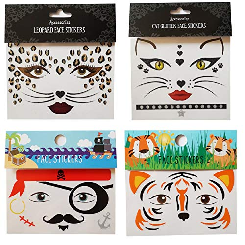 GGSELL GGSELL Temporary tattoos 4pcs face stickers in one package, it including tiger face sticker, cat face sticker,leopard face sticker and pirate face sticker.